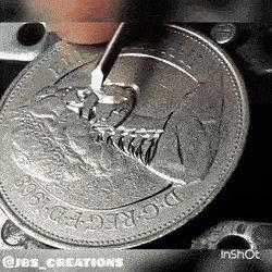 10 пенсов превращаются... пенс, монета, длинногиф, Интересное, гифка