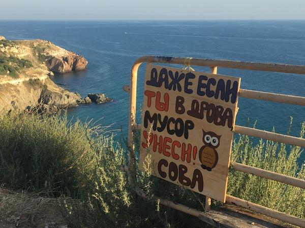 Мотивирующая сова фотография, мотиватор, не мусорьте!, сова, забавное, Черное море, Севастополь, мыс Фиолент