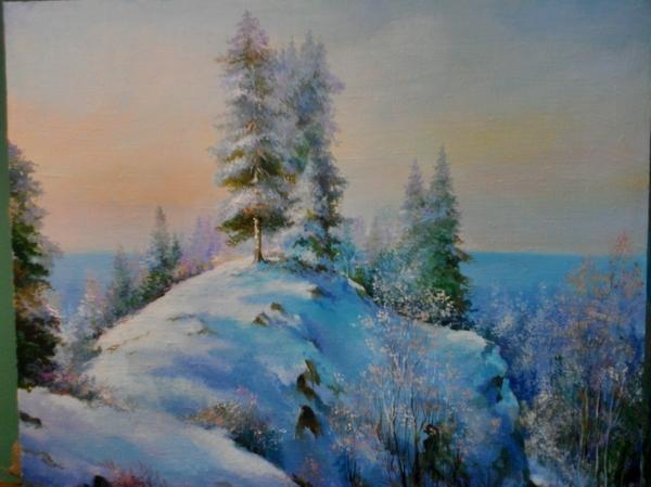 Зима... масло, картина маслом, Живопись, пейзаж, творчество