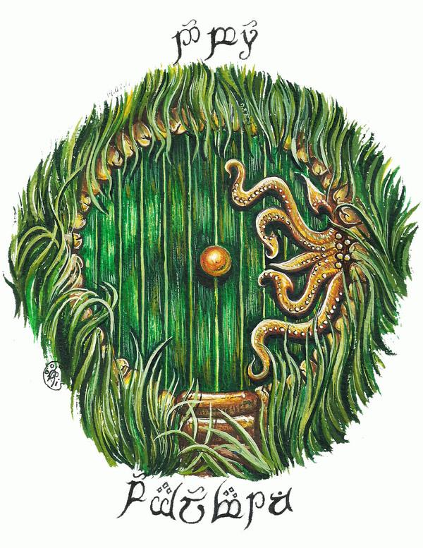 Добро пожаловать! Рисунок, Акварель, Зелёная дверь, Тайны, Сказка, Добро пожаловать, Эльфийский язык