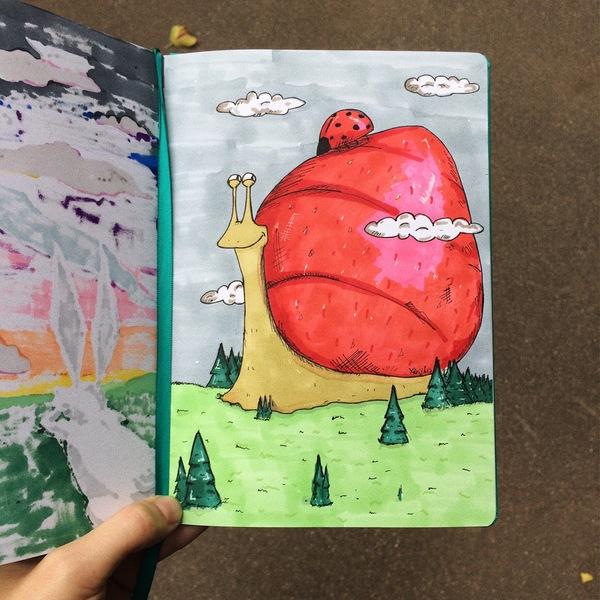 В мире гигантских животных моё, рисунок, Улитка, скетчбук