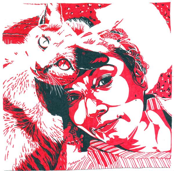 Человек и кошка рисунок, инфографика