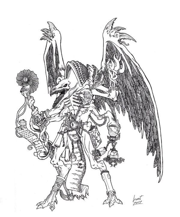 Кровожад и Владыка Изменений Warhammer 40k, хаос, Chaos Daemons, Bloodthirster, Lord of Change, Tzeentch, Кхорн, wh art