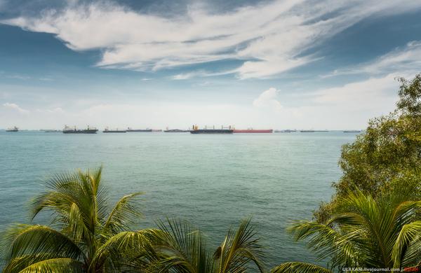 Парковка. море, Небо, облака, Корабль, песок, пляж, сингапур