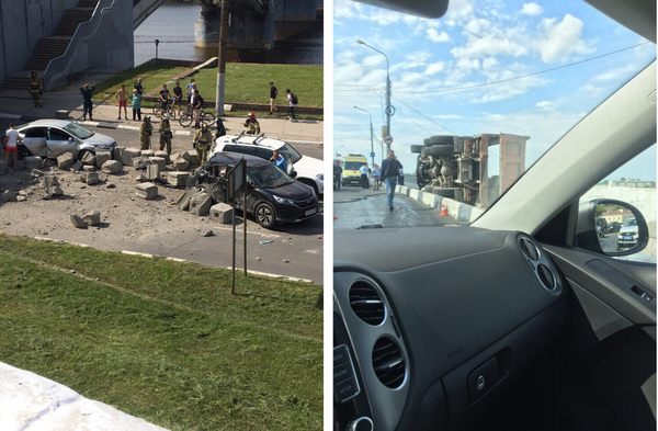 У грузовика со строительными блоками отказали тормоза на спуске. дтп, Нижний Новгород, авария, грузовик, длиннопост