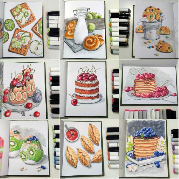 Рисунки маркерами (вкусняшки) Рисунки маркерами, спиртовые маркеры, маркер, рисунок, вкусняшки
