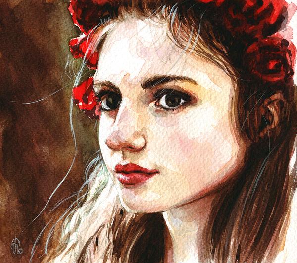 Акварельная дивчина Портрет, акварель, рисунок, иллюстрации, девушки