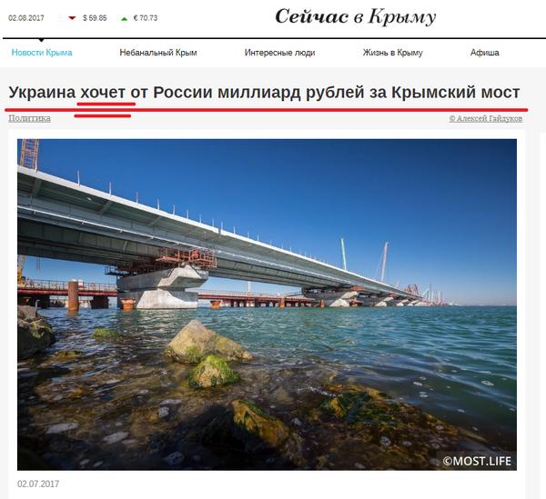 "Миллиард за мост ""которого нет"":) Украина, Россия, Крымский мост, политика, СМИ"