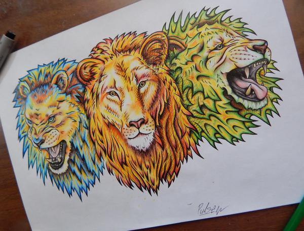 Три лёвы рисунок, львы, цветные карандаши