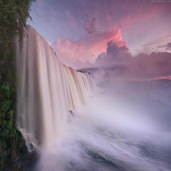 Водопады Игуасу на закате водопад, Природа, красота природы, Бразилия, фотография, достопримечательности