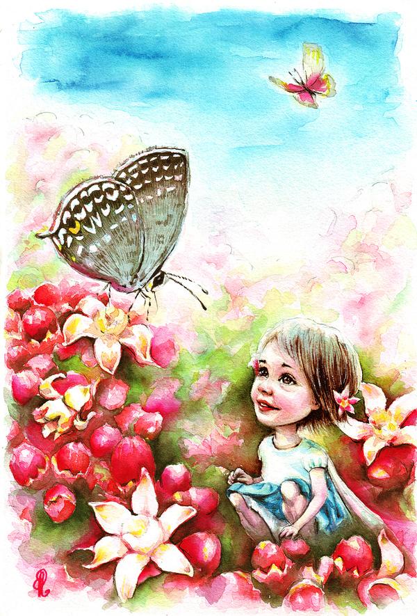 Акварельный рисунок рисунок, акварель, цветы, Фея, иллюстрации, бабочка