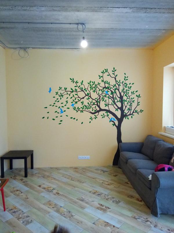 За день вырастили дерево своими руками, дерево, рисунок на стене