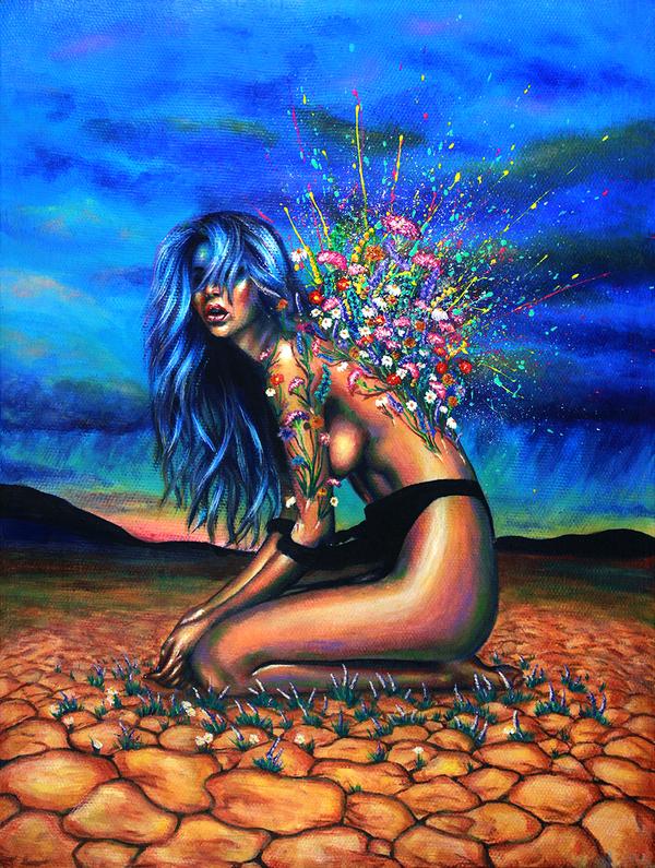 Bloom творчество, Художник, цветы, девушки, Пустыня, рисунок, картина