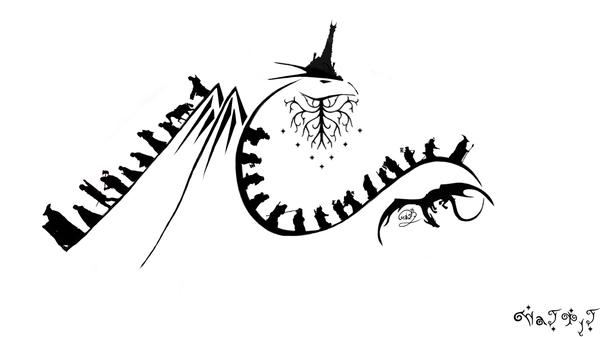 Как идея для тату) эскиз, эскиз татуировки, хоббит, властелин колец, толкин, арт