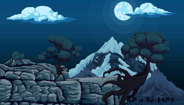 Горы пиксель, Pixel art, гифка, горы, ночь, деревья, ветер