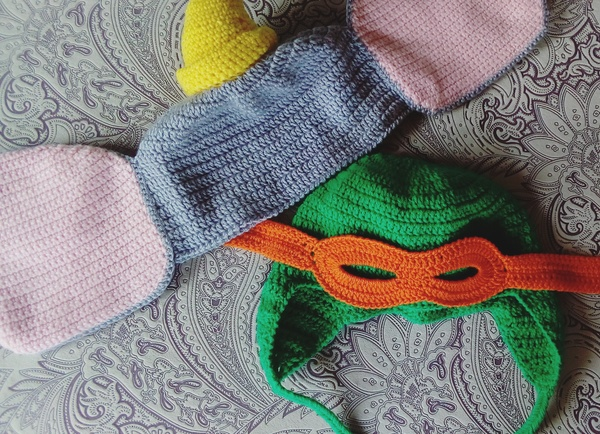 Шапочки рукоделие без процесса, шапка, черепашки ниндзя, слоны, своими руками, вязание крючком, Дети, милота