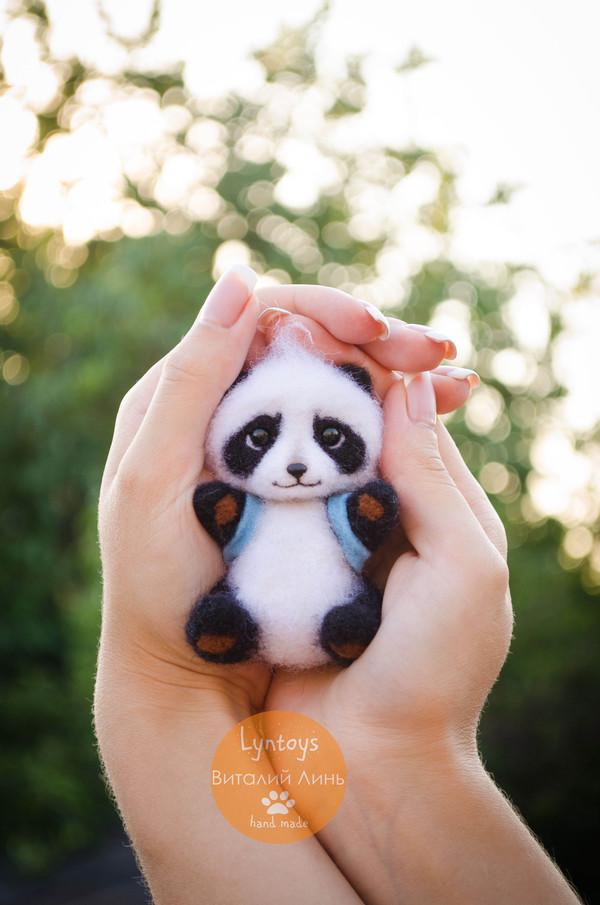 Мини панда из шерсти :) панда, ручная работа, сухое валяние, валяние фелтинг, рукоделие без процесса, игрушка из шерсти, длиннопост
