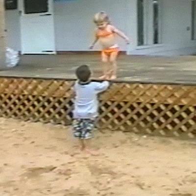Ожидание и реальность грязные танцы, дети, прыжок, юмор, гифка