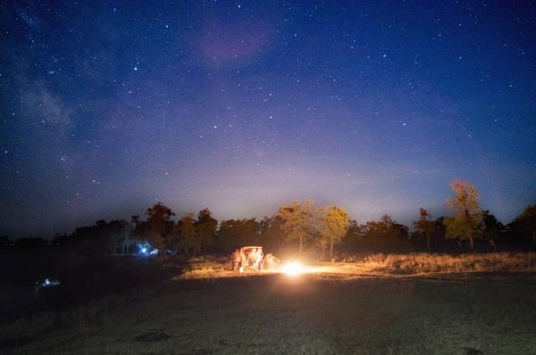 Ночной огонь костер, ночь, звёзды