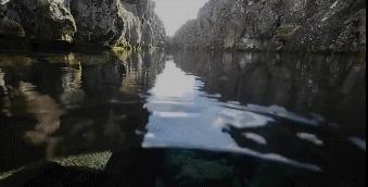 Дайвинг в расщелине Сильфра, Исландия Расщелина, Прозрачность, Дайвинг, Исландия, Ущелье, Гифка
