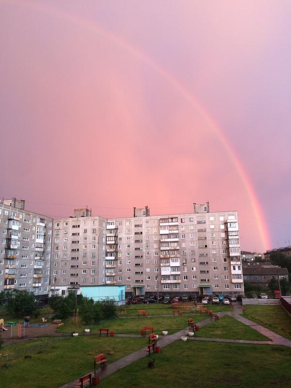 Мурманск вчера, разница 20 минут) мурманск, Небо, радуга, iPhone 5s, красота, длиннопост