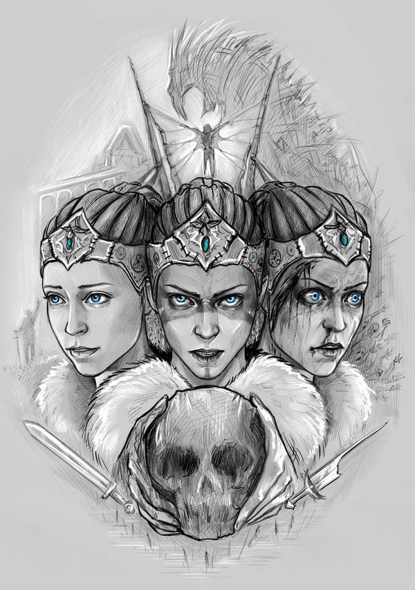 Сенуа - кельтская воительницы :) Hellblade - Senuas Sacrifice, Hellblade, Сенуа, Senua, арт, скетч, воин, фентези