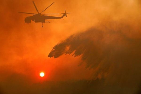 Тушение лесного пожара в Греции ,выглядит как будто белый медведь охотится за солнцем.