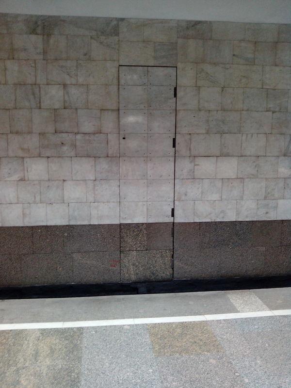 Вопрос, не дающий покоя с детства. Что это за дверь в метро, прямо за рельсами?)