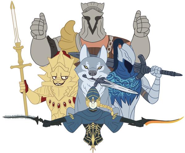 Cartoon Souls dark souls, рисунок, Solaire Of Astora, Sigmeyer from Catarina, Knight Artorias, Sif the Wolf