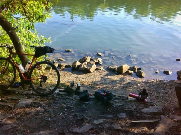 Выпить кофе в 6 утра на берегу реки - бесценно! кофе, утро, велосипед, стартшоссе, Велопрогулка