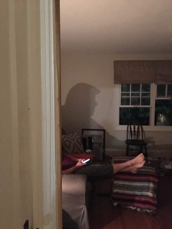 """""""Просто положил на голову пакет со льдом от головной боли, как внезапно моя девушка сказала чтобы я не двигался"""" Трамп, Тень, Совпадение, reddit, фотография"""