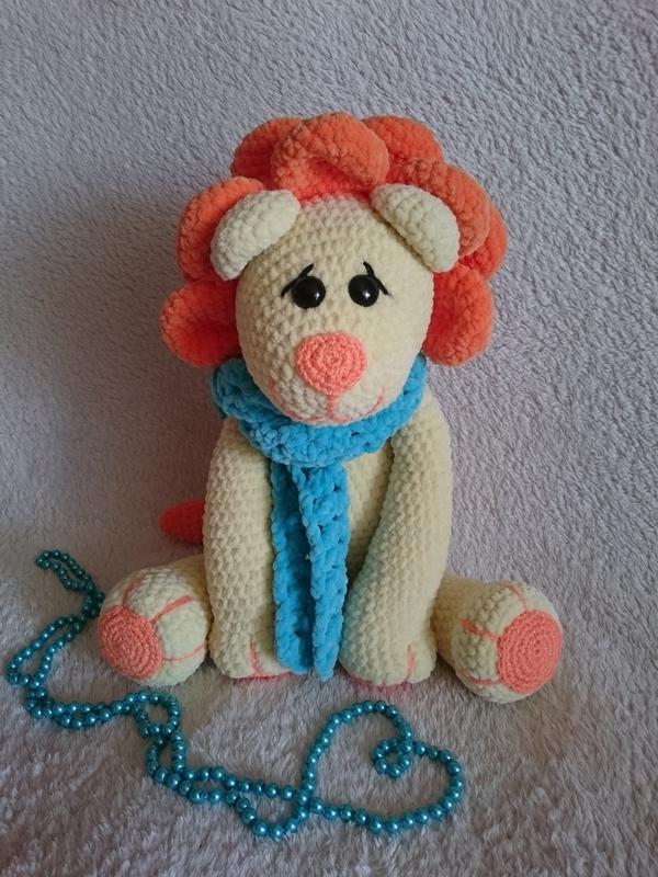 Большой и мягкий лев, связанный из плюшевой пряжи вязание, длиннопост, ручная работа, handmade, вязаные игрушки, лев, рукоделие без процесса, плюшевые игрушки