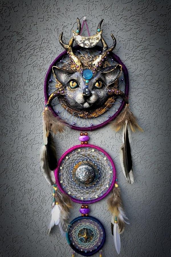 Космическая кошка. Процесс создания моё, творчество, ручная работа, рукоделие без процесса, кот, космос, Ловец снов, декор