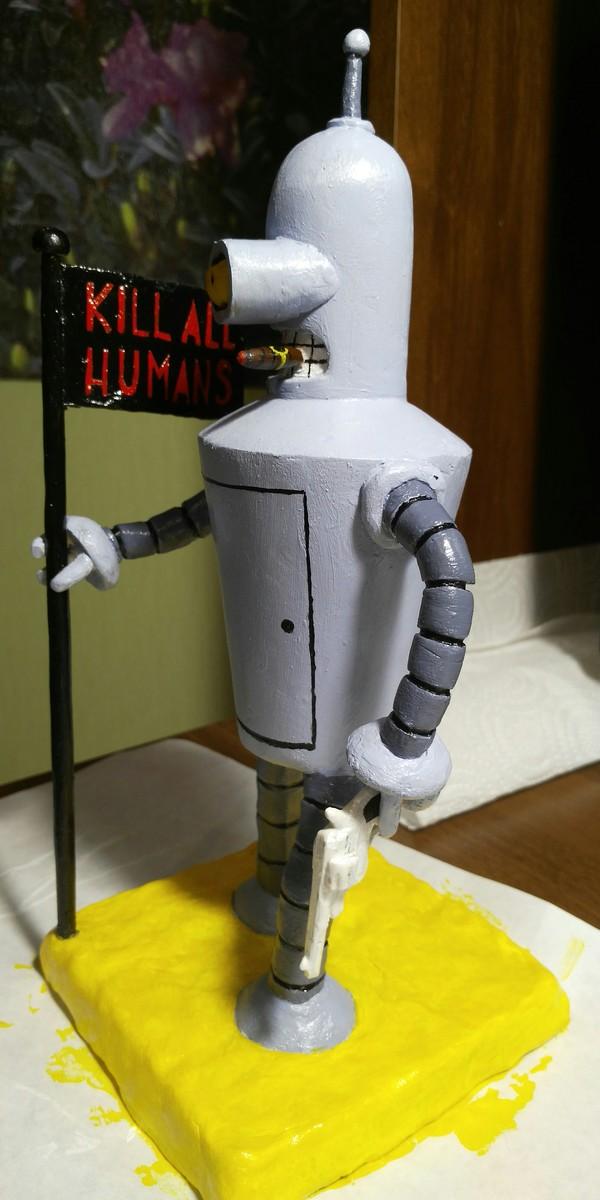 Бендер (Футурама) из полимерной глины. Часть 2 покрасочная. рукоделие, полимерная глина, бендер, футурама, Робот, убить всех людей, Слава роботам! Убить всех чело, длиннопост