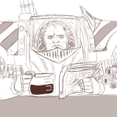 Утро Пертурабо: кофе и свежая пресса Warhammer 40k, wh art, wh humor, утро, примархи, пертурабо