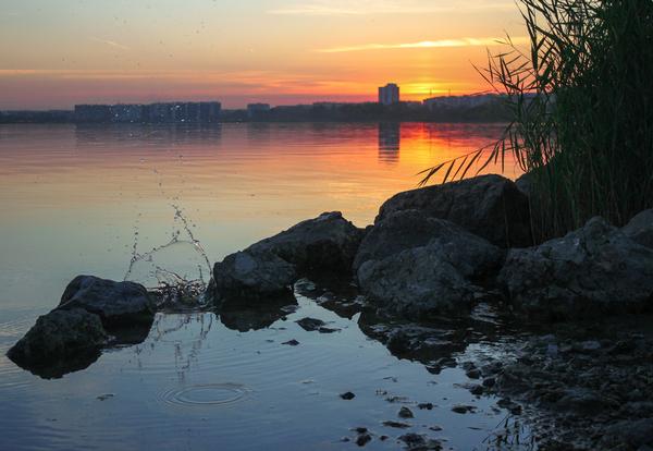 Закат на озере фотография, моё, Природа, челябинск, длиннопост