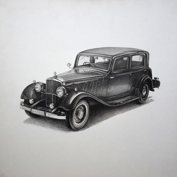 Майбах рисунок, перо и тушь, ретроавтомобиль, акварель