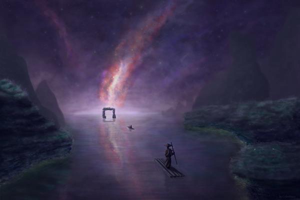 Бесконечность цифровой рисунок, рисунок, космос, арт, Река, Photoshop, Digital