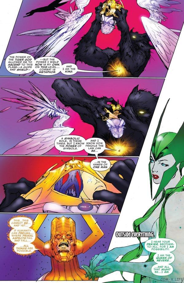 Тчала, черная пантера, разорвал Логоса на изначальные сущности. Marvel, Комиксы, Галактус, черная пантера, вечность, логос, длиннопост