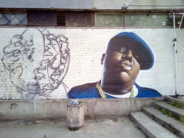 Новое граффити в честь B.I.G. (СПБ,Купчинская 23 к 1)