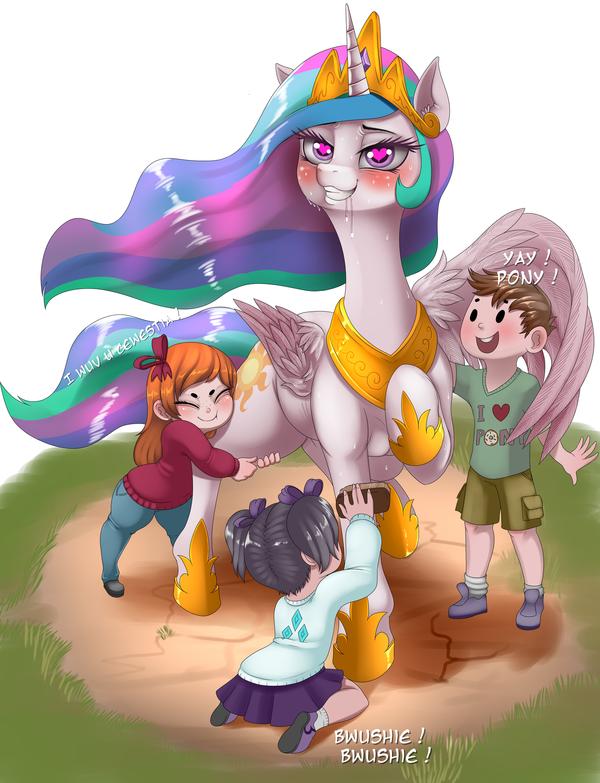 Пони нравится столько внимания. my little pony, Princess Celestia, ponyart