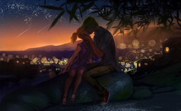 And the stars fall from the sky DeviantArt, Арт, рисунок, пара, поцелуй
