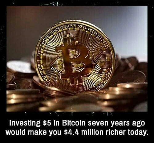 Инвестирование в Биткойны $5 долларов семь лет назад сделало бы Вас богаче на $4.4 миллиона долларов.