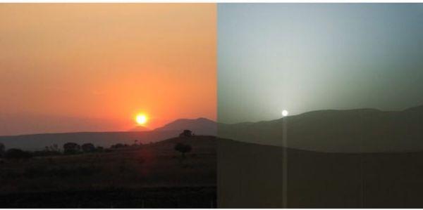 Одно Солнце, два мира: закат на Земле и Марсе.