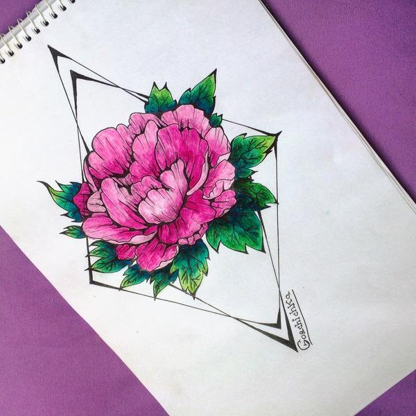 Цветов в ленту и хорошего настроения пикабушникам! цветы, рисунок, Первый пост