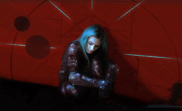 Ryder Рисунок, Цифровой рисунок, Mass Effect, Mass Effect:Andromeda, Andromeda, Ryder, Сара Райдер, Shalizeh