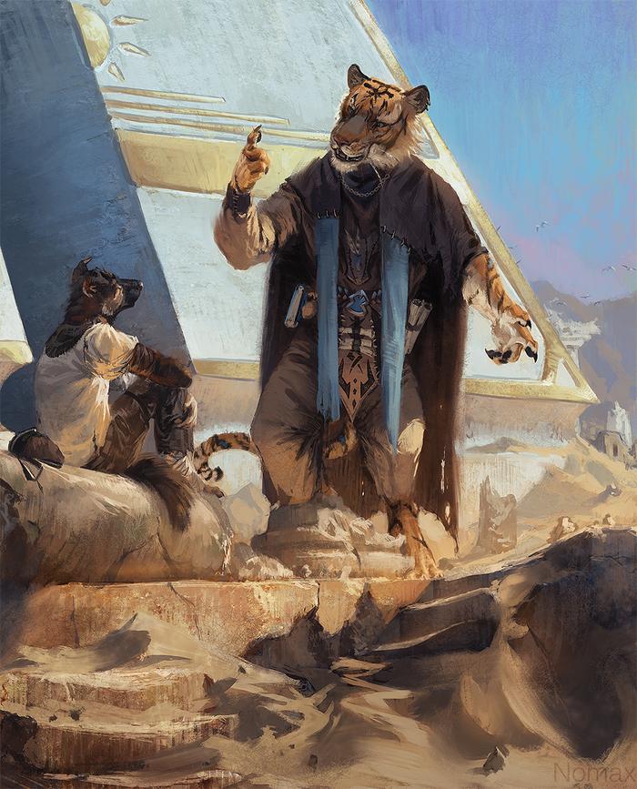 Урок по философии Фурри, Арт, Nomax, Тигр, Пустыня