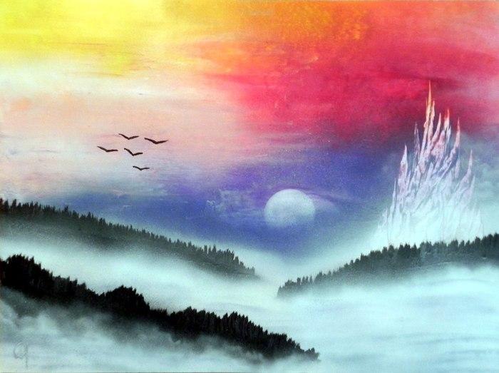 Туман и Spray art Spray art, Spacepainting, Арт, Картина, Балончик, Туман