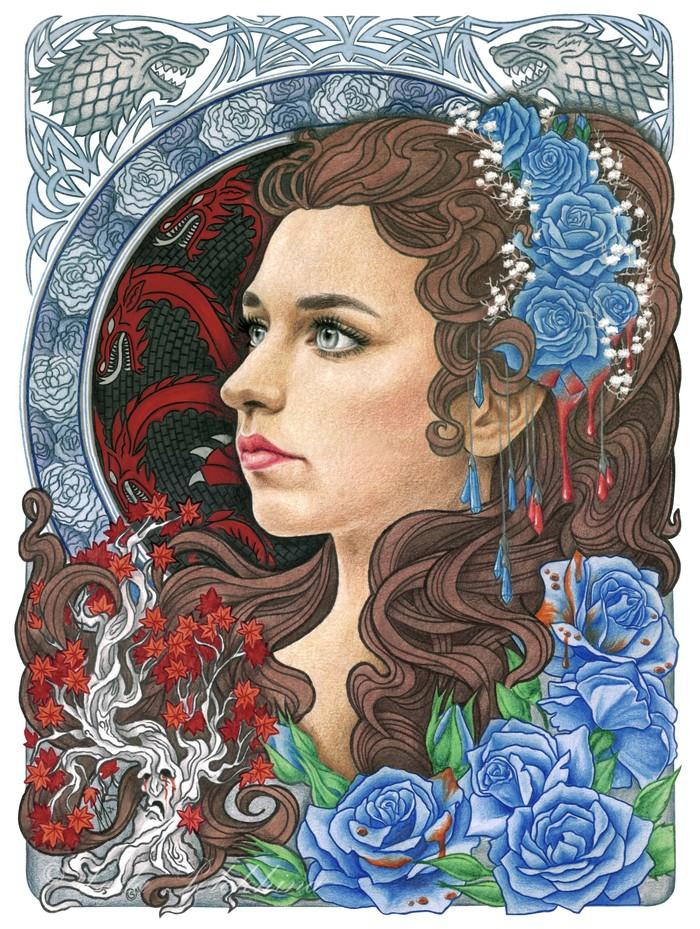 """Рисунок цветными карандашами. """"Лианна Старк"""". Моё, Рисунок, Портрет, Игра престолов, Творчество, Лианна Старк, Роза, Генеалогическое древо"""