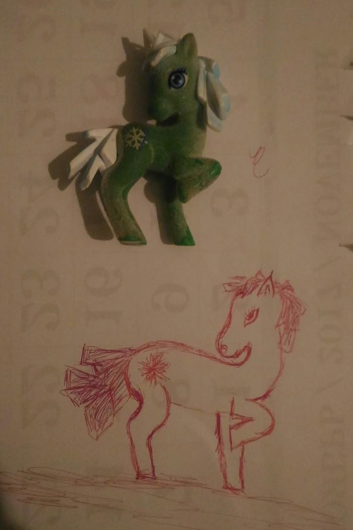 Попросила дочка, пони нарисовать. Рисунок ручкой, Отцы и дети